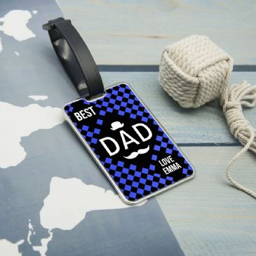 Chequered World's Best Dad Luggage Tag